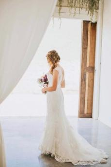 Bride inside barn at Maypop Fields Wedding and Event Venue